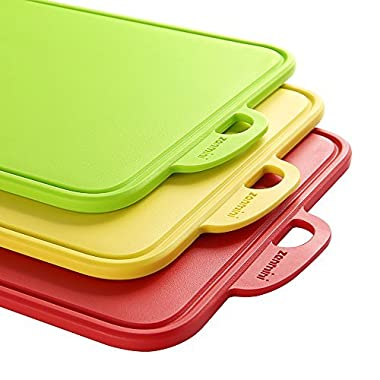 Plastic Cutting Boards for Kitchen,zanmini Dishwasher Safe with Support Stand and Handing Hole Boards - BPA Free FDA Approved & Eco Friendly