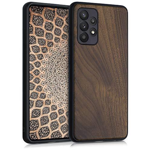kwmobile Bumper Schutzhülle kompatibel mit Samsung Galaxy A52 - Hülle - Holz Handy Hülle Cover Dunkelbraun