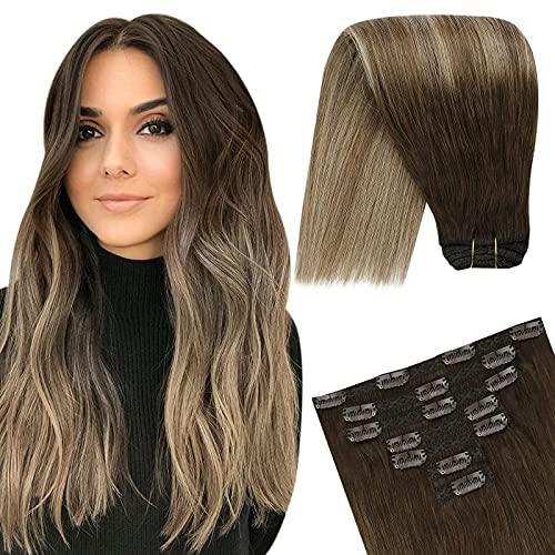 YoungSee Extensions Clips Cheveux Naturel Vrai Clip in Human Hair Extensions Double Weft 12 Pouces #4/10/16 Chatain Foncé a Miel Brun avec Blond Fonce