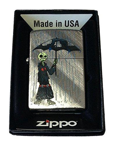 Zippo Custom Lighter - Gray Days Emo Punk Skull Guy w/Rain & Umbrella Diagonal Weave