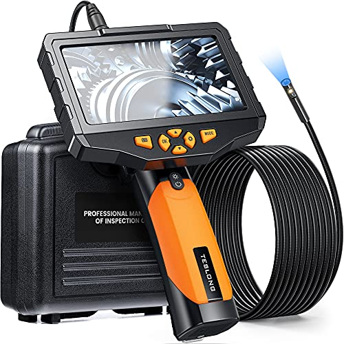 5 inches IPS Inspection Camera, Teslong Dual Lens Borescope-Endoscope Camera, Snake Camera with 8mm 16.4ft Flexible Cable, IP67 Waterproof with 7 LEDs, 5000mAh, Flashlight, Sturdy Case, 32GB, Zoom