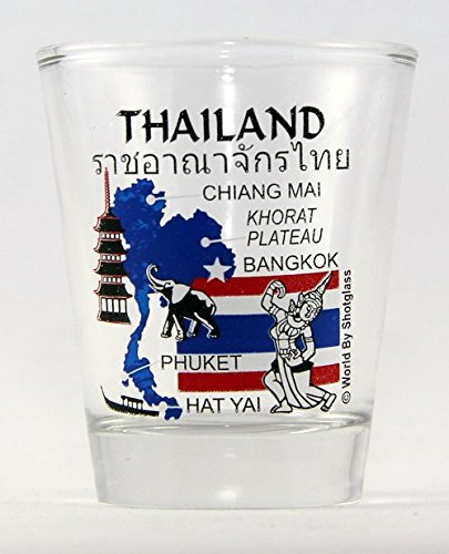 Thailand Landmarks and Icons Collage Shot Glass