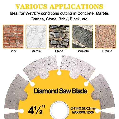 """NYTiger 3 Pack 4-1/2 inch Diamond Saw Blades 4.5"""" Angle Grinder Disc Wet Dry Segmented  Cutting Wheel with 4/5-5/8 inch Arbor for Concrete Stone Brick Block Masonry"""