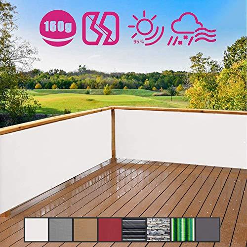 Hisunny Balkonverkleidung Kunststoff 80x500cm 100% Privatsphäre Balkumrandung In div. Größen & Farben für Garten Balkon Swimming Pool Weiß