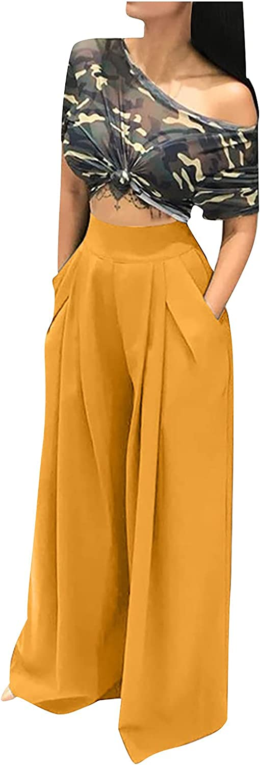 Women's Slim Slim High Waist Straight Loose Wide-Leg Pants Pure Color Pleated Casual Trousers