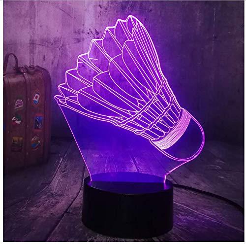 XINGXIAOYU Sport Badminton Neuheit 3D Led Nachtlicht USB Multicolor Schreibtischlampe Wohnkultur Kind Kind Spielzeug Geburtstag Lava
