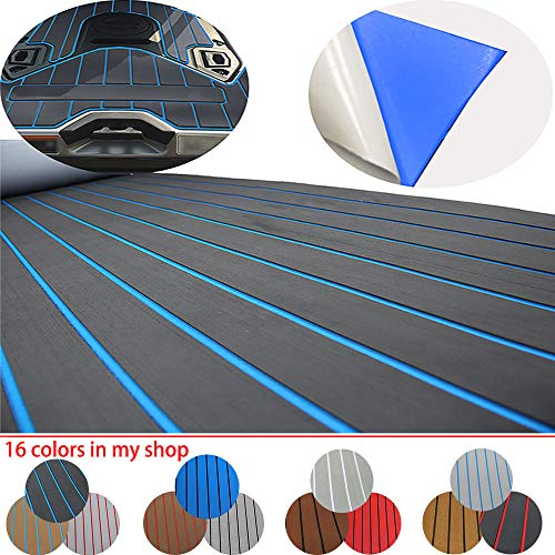 Happy yacht 94.5'× 35.4' EVA Foam Boat Decking Sheet Faux Teak Decking Self-Adhesive Marine Yacht RV Swimming Pool Boat Flooring Sheet Thick Non-Skid (Dark Gray Blue Stripes)