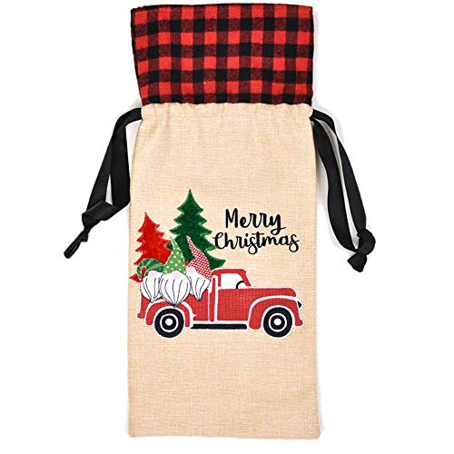 TreeLeaff - Fundas para botellas de vino de Navidad, con cordón para botellas de vino, bolsa de regalo para Navidad, Año Nuevo, bodas, cumpleaños, fiestas, Navidad, suministros para coche