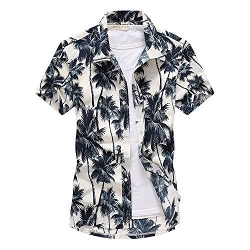LFNANYI Holiday Hawaiishirt Lässige Herren Strandhemd Herren Kurzarm Blumen Kokospalme Druck Lose Hemden Herren Kleidung Plus Größe 5XL L Farbe wie abgebildet