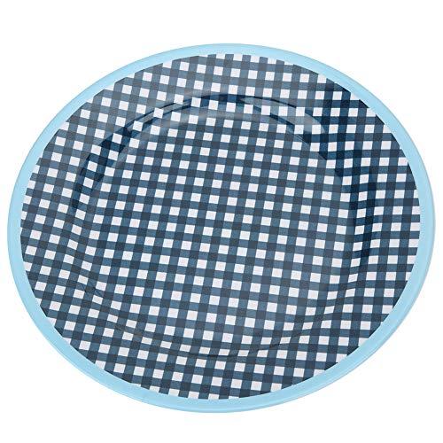 Raviga Placa de 22 cm de lunares de rejilla redonda de la fruta plato hogar restaurante hotel cocina cena vajilla azul marino (azul marino+rejilla)