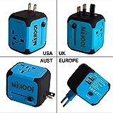 Adaptateur de Voyage avec 2 USB Adaptateur Universel Pris de Courant pour UE/US/UK/AUS Utilisé dans Plus de 150 Pays Adaptateur Chargeur avec Deux fusible(fusible de Rechange)-Bleu-MILOOL