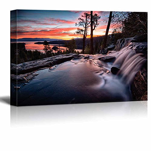 wall26 - Canvas Prints Wall Art - Water Falling into a Lake, Lake Tahoe | Modern Wall Decor/Home Decoration Stretched Gallery Canvas Wrap Giclee Print. Ready to Hang - 24' x 36'