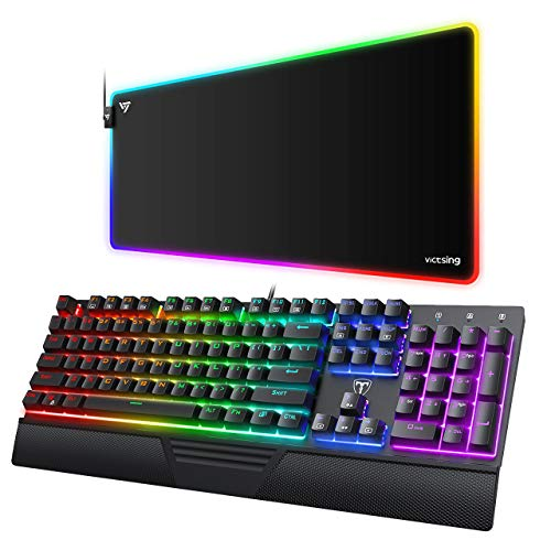 VicTsing Mechanical Gaming Keyboard with RGB Gaming Mouse Pad, Full Outemu Blue Switches LED Backlit Keyboard, 12 Lighting Modes, 31.5×15.75×0.2 in Large RGB Mouse Pad for Gamer/Esports Pros/Office