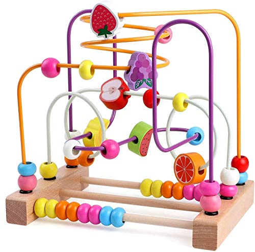 ljfjf Bead Maze Juguetes de Madera para Bebé Niño Roller Coaster Abacus Preescolar Círculo Educativo Juguetes Para Bebés Niños Niñas