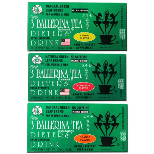 3 Ballerina Diet Tea Extra Strength for Men and Women 3 Boxes Flavored Combo (Orange, Lemon and Cinnamon Flavors)