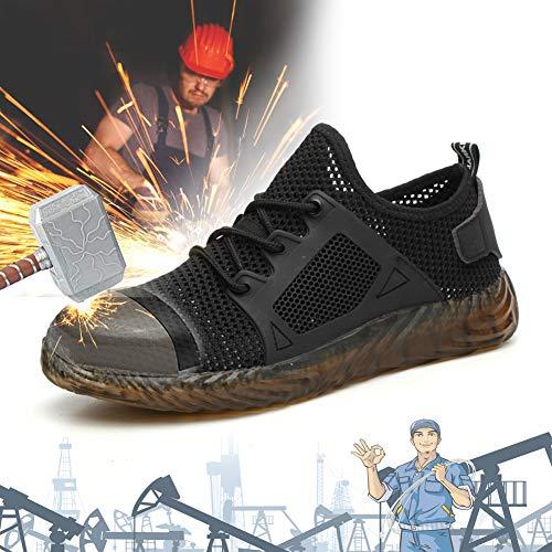 TBDLG Anti-Smashing Sicherheitsschuhe, Stahlkappe Schuhe, Anti-Smashing Anti-Piercing Atmungsaktiv Leicht Antishock Sportlich Schuhe, Unisex,36EU