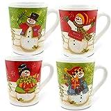 MC-Trend 4er Set Tassen Becher Nostalgie Schneemann Motiv für Kaffee Tee Glühwein ideal für Weihnachten Weihnachtsmarkt 350ml