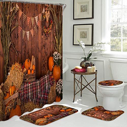 ZLWSSA Thanksgiving Fabric Shower Curtain Autumn Pumpkins Wooden Bathroom Anti-Skid Bath Rugs Carpet Toilet Lid Cover W180xH200cm