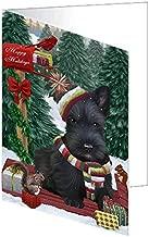 Merry Christmas Woodland Sled Scottish Terrier Dog Greeting Card GCD69590 (20)