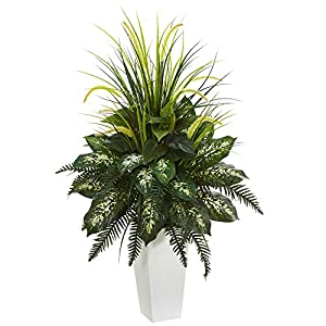 Nearly Natural Artificial White Mixed River Fern and Dogtail Plant, Tower Planter, Green,26″Dx26″Wx48″H