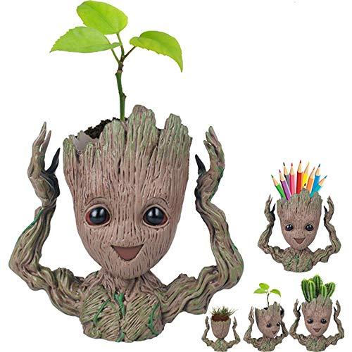 Valentoria Prime Day Deals - Macetero de la semana de la venta en Amazon 2018, creativo, diseño de la galaxia de Guardianes de la galaxia, para bebé, con figuras de acción de lechada, Hands Up Groot