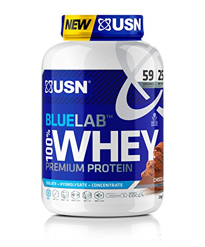USN Premium Whey Protein Powder: Blue Lab Whey Chocolate 2 kg, 100% Premium Post-Workout Protein Shakes With BCAAs and Tolerase