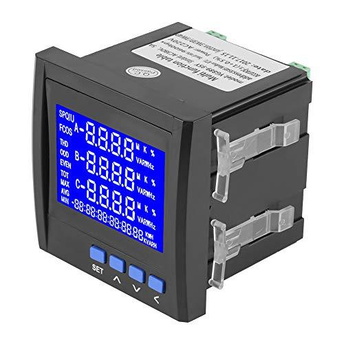 Lazmin Multifunktionales 3-Phasen-Messgerät für elektrische Parameter, LCD Digital Volt Watt Leistung Energie Frequenzmesser Kwh Amperemeter Voltmeter