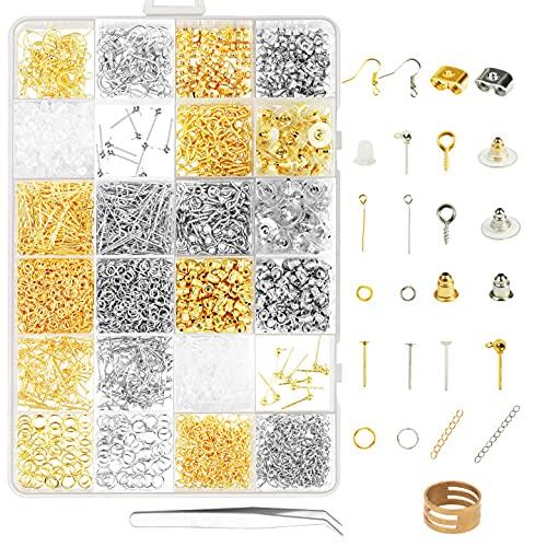ZoomSky Ohrringe Basteln Zubehör, 2416tlg Schmuckherstellung Set Schmuck Reparatur Kit in 24 Arten Ohrhänger Ohrstopper Verschluss für DIY Anfänger