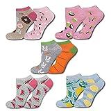 soxo Damen Bunte Sneaker Socken | Größe 35-40 | 5er Pack | Baumwolle Damensocken mit lustigen Motiven | niedriger Schnitt | Perfekt für flache Schuhe | tolle Ergänzung für Ihre Garderobe
