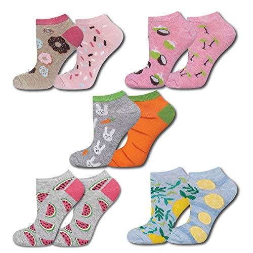 soxo Damen Bunte Sneaker Socken   Größe 35-40   5er Pack   Baumwolle Damensocken mit lustigen Motiven   niedriger Schnitt   Ideal für flache Schuhe   tolle Ergänzung für Ihre Garderobe