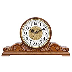 Wooden Mantel Clock, Home Decorative Desk Clock, Fireplace Clock,time Accurate for Living Room, Bedroom, Office Desktop-Clock (Color : Wood)