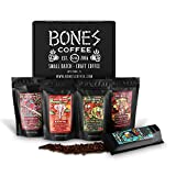 Bones Coffee World Tour Sample Pack, Whole Bean Coffee Sampler Gift Box Set, Pack of 5 Assorted Single-Origin Whole Coffee Beans (Whole Bean)