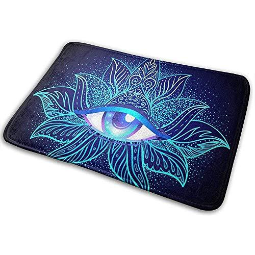 Symbool van de heilige geometrie met alle ogen in zure kleuren. Mystic deurmat deurmat