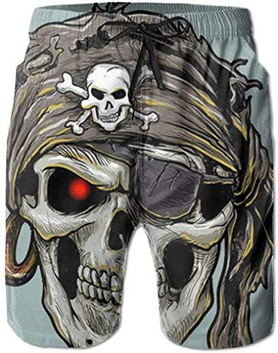 Short Sleeve Pantalones Cortos de Playa para Hombre Red Eyes Evil Pirate Skull Boss