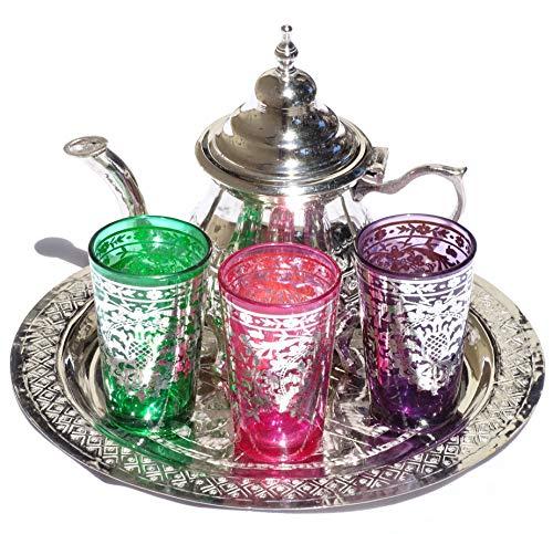 Kenta Tee-Tablett marokkanisch geprägt 25 cm + Teekanne für 3 + 3 Marokkanische Gläser aus Glas - Teeset komplett handgefertigt