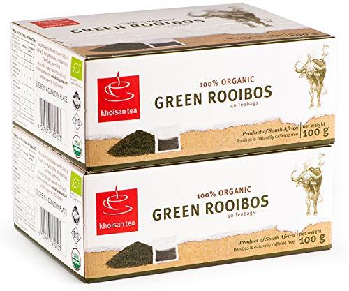 Green Rooibos Tea Organic South Africa Caffeine Free Herbal 80 Teabags