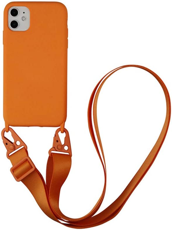 Arlgseln Case for iPhone 11 Pro, Soft TPU Phone Case with Adjust Lanyard Crossbody Case Necklace Phone Back Cover for iPhone 11 Pro Max (Orange, 11)