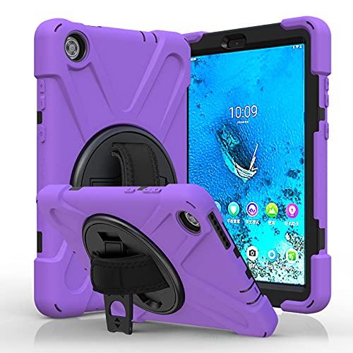 BlinkCat Funda para Lenovo Tab M8 HD 8.0 Pulgada / Smart Tab M8 8.0 Pulgada Resistente3 Capa Híbrido Protectora Cubierta con Incorporado Kickstand / Correa para el Hombro+Correa de Mano - Morado