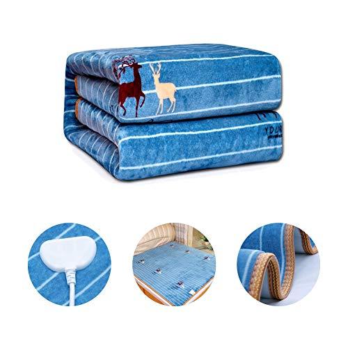 CRXL Shop-verwarmingsdeken, elektrische sprei met dubbele bediening, blauw, zacht en knuffelig, luxueus over het bed, met beveiliging tegen oververhitting en verwarmingsinstellingen