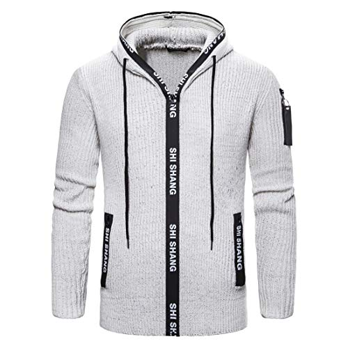 Chaqueta de punto con cremallera para hombre, chaqueta de invierno con capucha, color gris