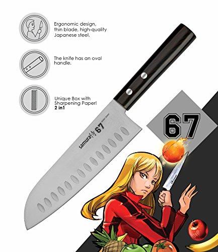 Samura 67 Professioneel santokumes, ultra scherp, groot, van Japans AUS 8 roestvrij staal, 18 cm lemmet, met handgreep, ovaal, keukenmes, met schuurpapier