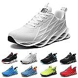 Zapatillas Running Hombre Deportivas Mujer Sneakers Casual para Correr Gimnasio Tenis Fitness Comodos Deportivos Calzado Ligero Transpirable Bambas Negro Blanco G33White42