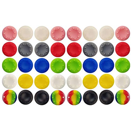 40 Pcs Colorful Silicone Accessories Replacement Part Thumb Grip Cap Cover, Analog Controller Thumb Stick Grips Cap Cover for PS2, PS3, PS4, Xbox 360, Xbox One Controller