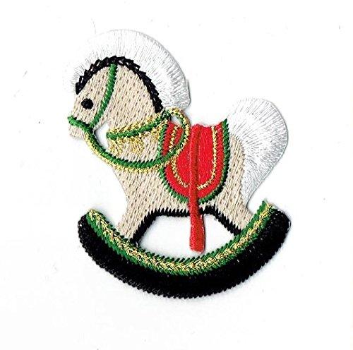 Aufnäher zum Aufbügeln mit rotem Weihnachtspferd, bestickt