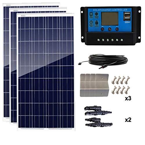 AUECOOR 300 W (3 unidades de 100 vatios) 12 V panel solar policristalino para caravana con controlador de carga solar LCD P30L + cable solar + conectores de rama Y + soportes de montaje