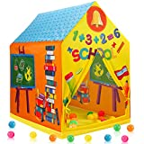 Liberty Imports Kids Themed Play Tent with 50 Balls Included - Indoor Outdoor Children Playhouse Toy for Toddlers, Boys and Girls (School)