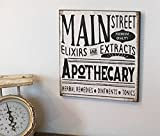 WOODSIGNS QMSING Main Street Apothecary Wood Sign Farmhouse Fixer Upper Style 7.28 x 7.28 inch
