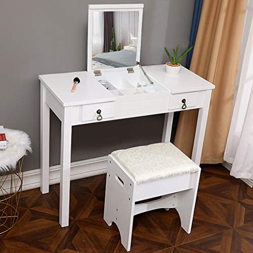 Best Review Of Fukasse 2 in 1 Vanity Set with Flip Top Mirror Makeup Dressing Table Writing Desk wit...