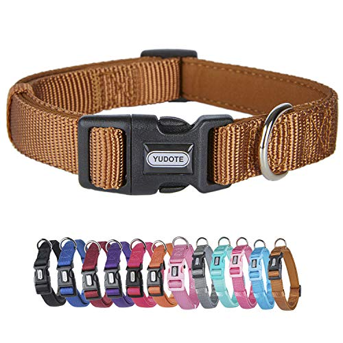 YUDOTE Adjustable Nylon Dog Collar with Soft Neoprene Padding for Medium Sized Dogs Neck 30-47cm Brown
