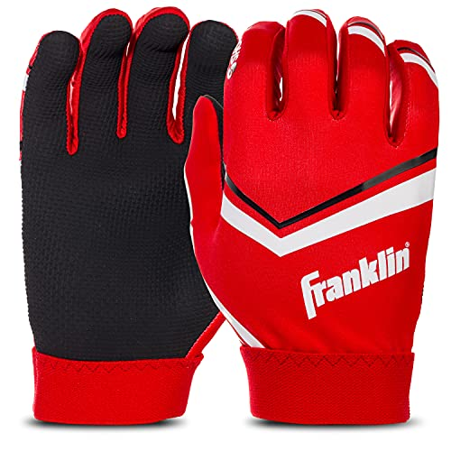 Franklin Sports Youth Football Receiver Gloves - Shoktak Youth Gloves - Kids Football Receiver Gloves - High Grip Football Gloves for Kids - Red - Youth Medium
